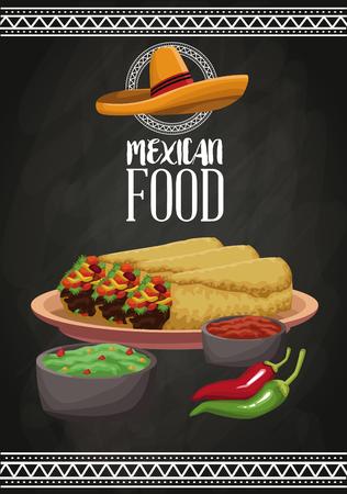 Mexicaans grafisch de illustratie grafisch ontwerp van het voedselbrochurepictogram