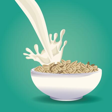 Progettazione grafica dell'illustrazione di vettore dell'icona dell'alimento della farina d'avena sana Archivio Fotografico - 90424470
