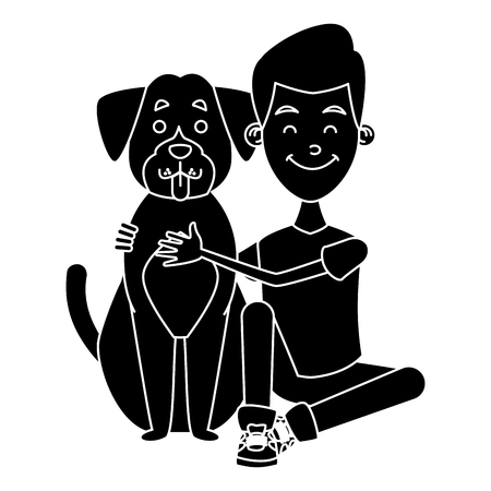 Boy with cute dog icon vector illustration graphic design