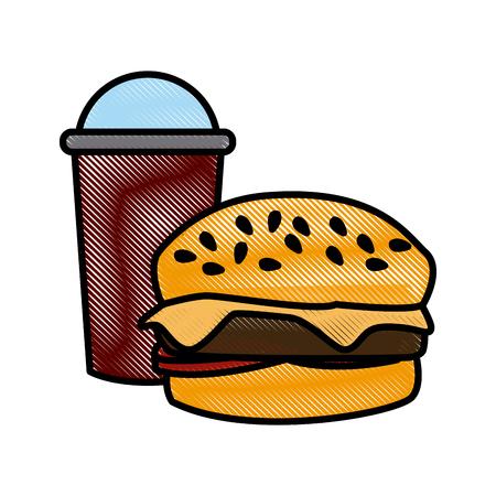 Hamburger with soda icon vector illustration graphic design