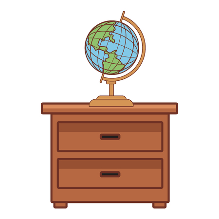 World globe on drawer icon vector illustration graphic design