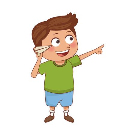Cute schoolboy cartoon icon vector illustration graphic design