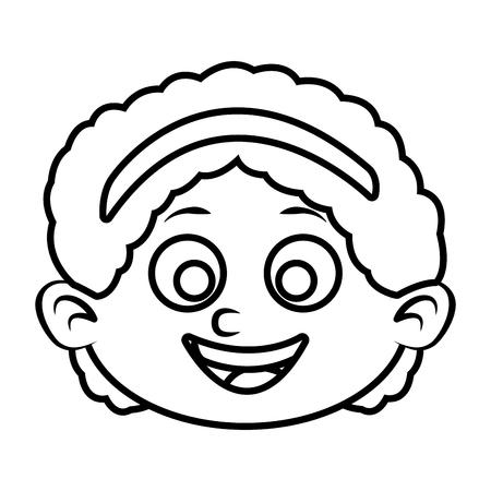 Cute girl face cartoon icon vector illustration graphic design