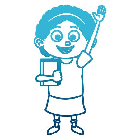 Cute school girl cartoon icon vector illustration graphic design