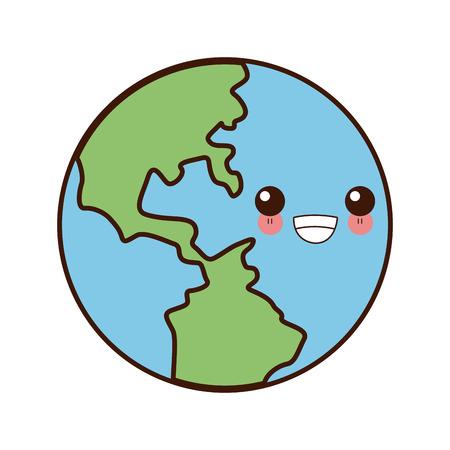 Earth world symbol cute  cartoon vector illustration
