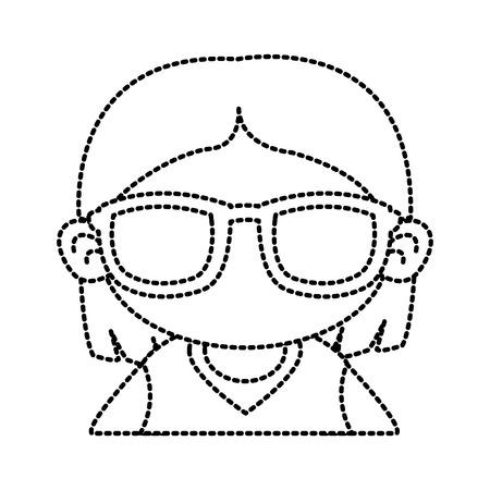 Cute girl with sunglasses cartoon icon vector illustration graphic design Illustration