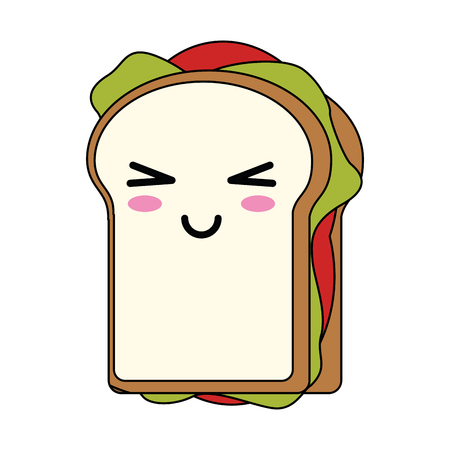 Delicious sandwich food cute  cartoon vector illustration icon