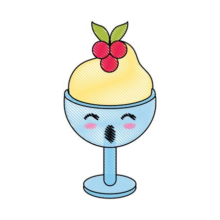 Ice cream on glass cup cute   cartoon vector illustration icon