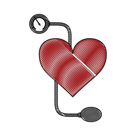 Hand holding Blood pressure cuff icon vector illustration graphic design