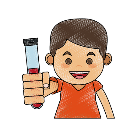 Boy with test tube icon vector illustration graphic design Illustration