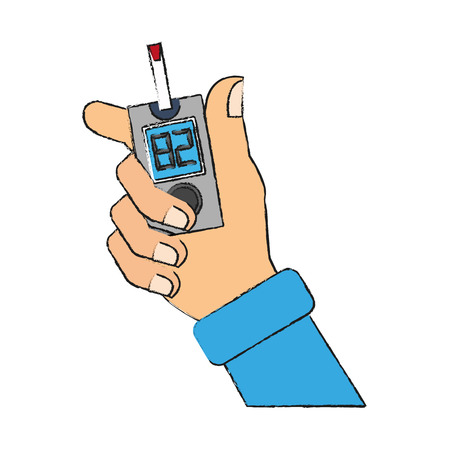 Hand holding glucose meter icon vector illustration, graphic design.