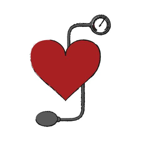 Van de het bloeddrukmanchet van de handholding van de het pictogram het vectorillustratie grafische ontwerp