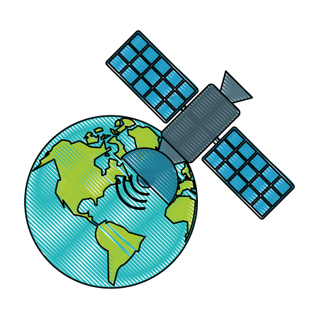 Space satellite around world icon vector illustration graphic design