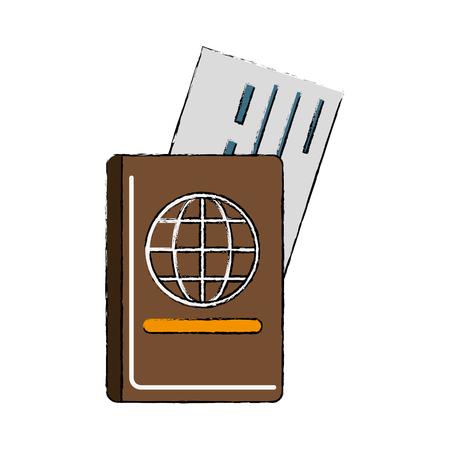 Passport and flight ticket icon vector illustration graphic design