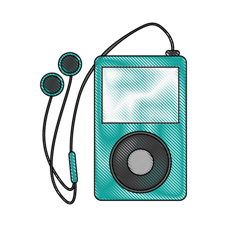 Music player with earphones icon vector illustration graphic design
