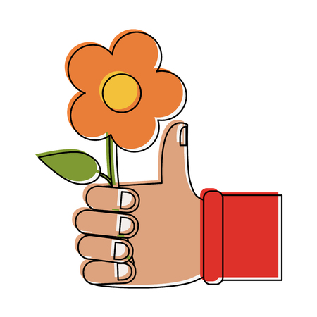 Hand holding a flower icon vecctor illustration graphic design Illustration