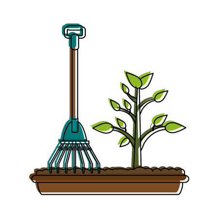 Plant and rake icon vecctor illustration graphic design