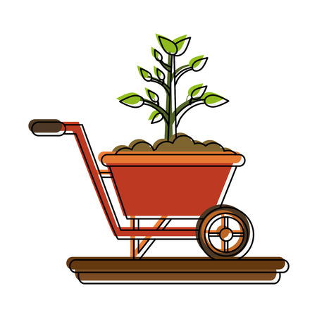 Plant on wheelbarrow icon vecctor illustration graphic design