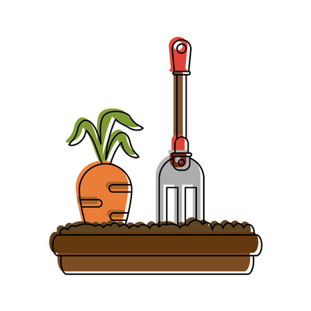Carrot planted with little rake icon vecctor illustration graphic design
