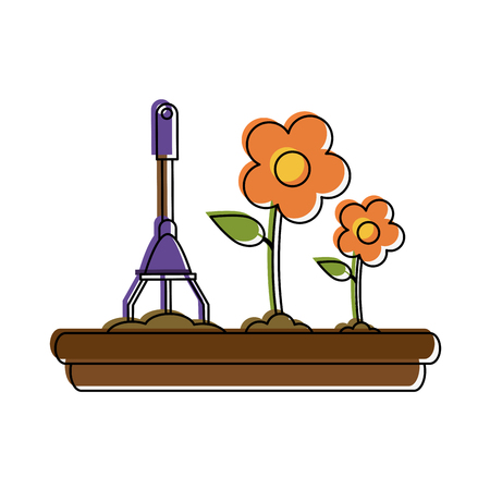 Beautiful flowers planted icon vecctor illustration graphic design