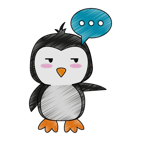penguin side eye and chat bubble cute animal cartoon icon image vector illustration design