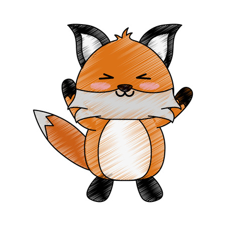 fox with open arms cute animal cartoon icon image vector illustration design