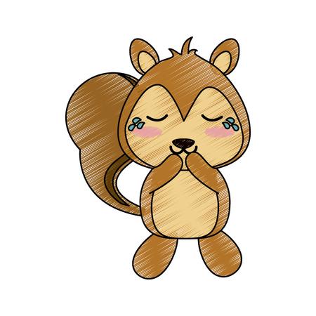 squirrel crying cute animal cartoon icon image vector illustration design