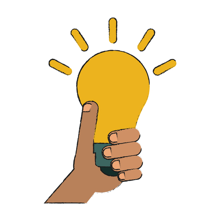 hand holding lightbulb idea concept icon image vector illustration design