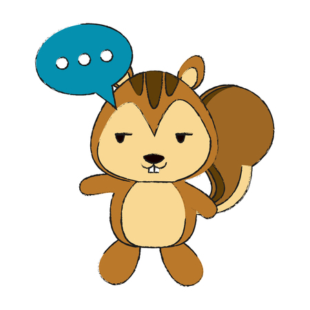 squirrel flirty with chat bubble cute animal cartoon icon image vector illustration design