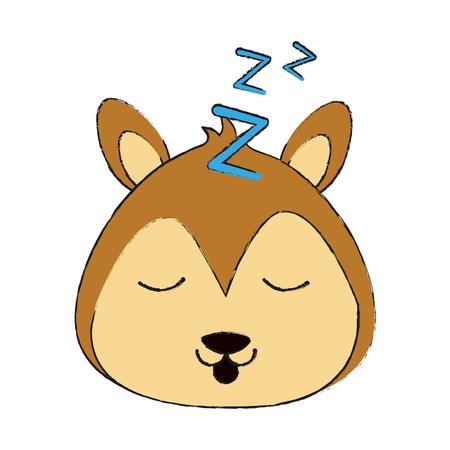squirrel sleeping cute animal cartoon icon image vector illustration design Illustration