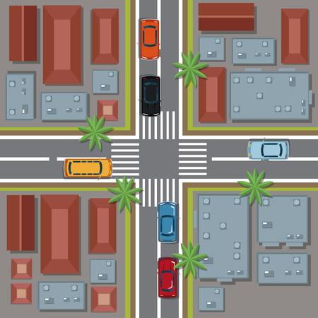 Diseño gráfico de la vista superior urbana del ejemplo del vector del icono de la historieta