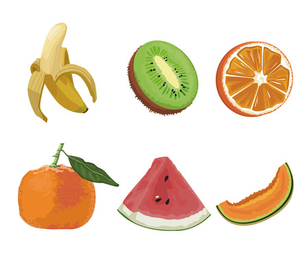 Fruits icons set icon vector illustration graphic design Illustration