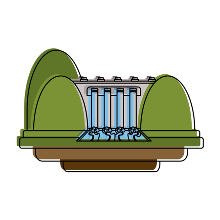 Eletric dam energy icon vector illustration graphic design Illustration
