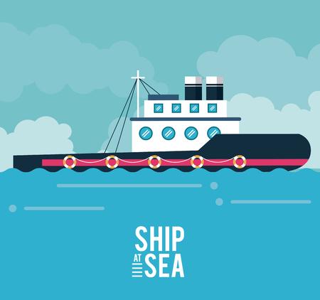 Boat ship at sea icon vector illustration graphic design 向量圖像