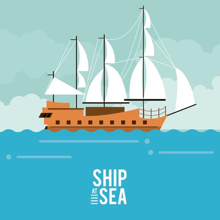 Nave antica a progettazione grafica dell'illustrazione di vettore dell'icona del mare