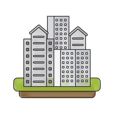 City buildings symbol icon vector illustration graphic design  イラスト・ベクター素材
