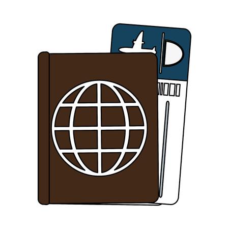 Passport with ticket icon vector illustration graphic design Vectores