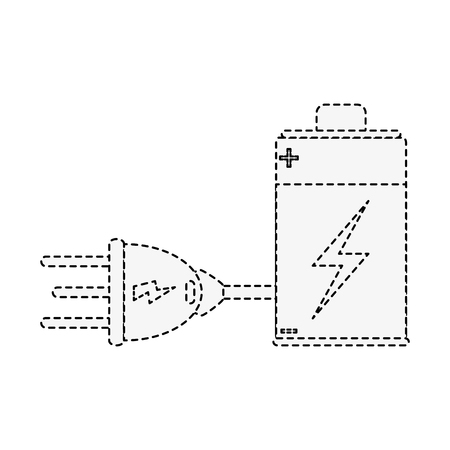 battery rechargeable with plug icon vector illustration graphic design