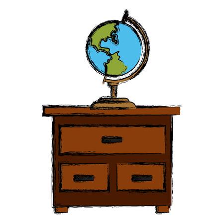 World globe on drawer icon vector illustration graphic design