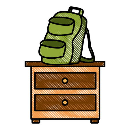 Backpack on drawer icon vector illustration graphic design