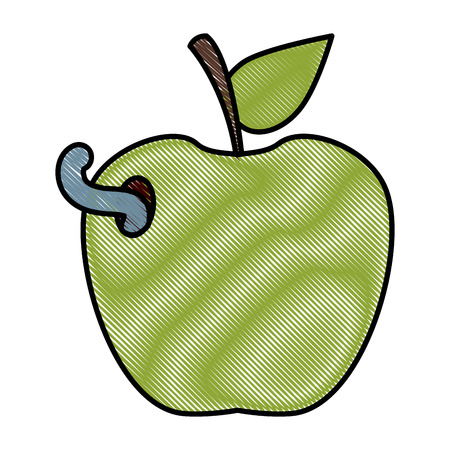 Apple with worm icon vector illustration graphic design Illustration