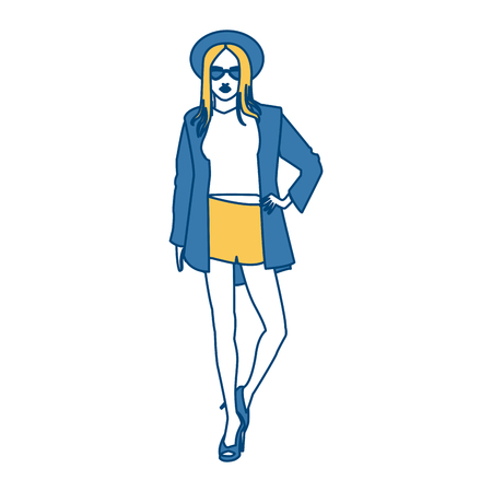 Model woman fashion clothes icon vector illustration graphic design Illustration