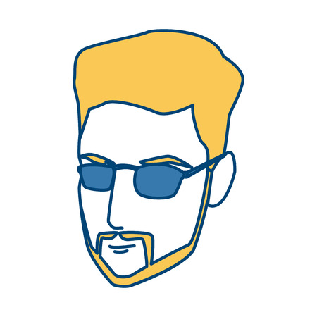 Young man face with sunglasses icon vector illustration graphic design