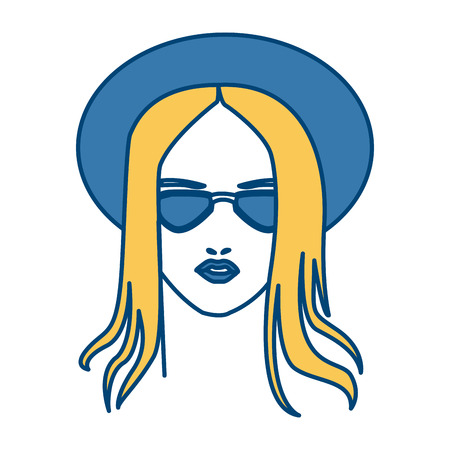 Beautiful woman face with sunglasses icon vector illustration graphic design