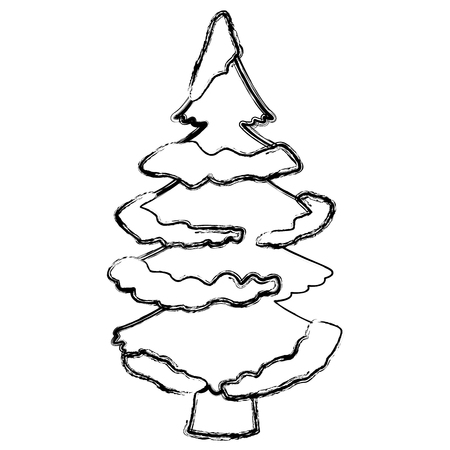 Tree pine with snow icon vector illustration graphic design Иллюстрация