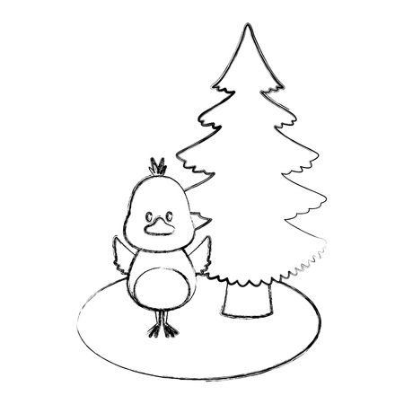 Bird with christmas tree icon vector illustration graphic design Illustration