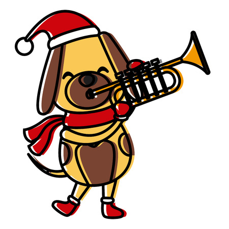Christmas dog with trumpet cartoon icon vector illustration graphic design