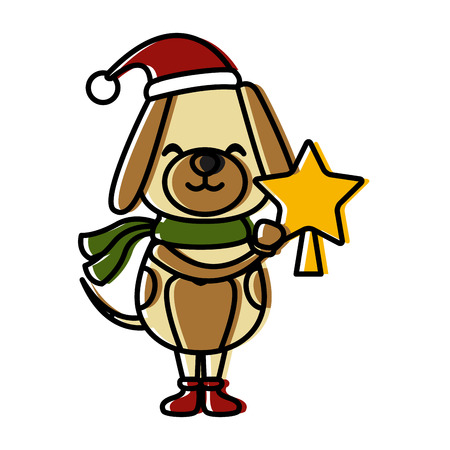 Christmas cute dog cartoon icon vector illustration graphic design