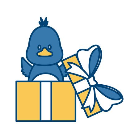 little bird in giftbox icon vector illustration graphic design