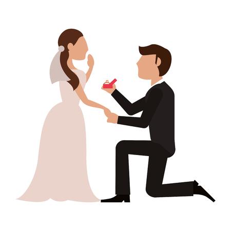 Bride and fiance cartoon icon vector illustration graphic design Vettoriali